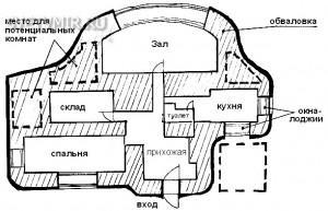 Рис. 3. Свободное расположение комнат, соединенных между собой коридорами