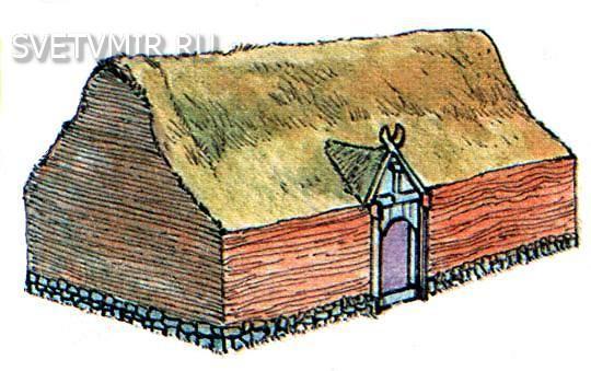 Дом викингов из камня и дерна