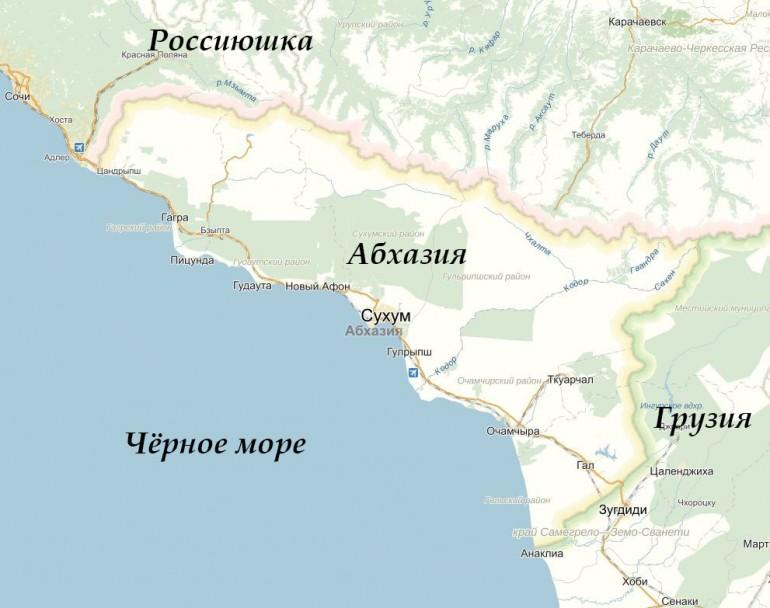 Абхазия, карта и границы