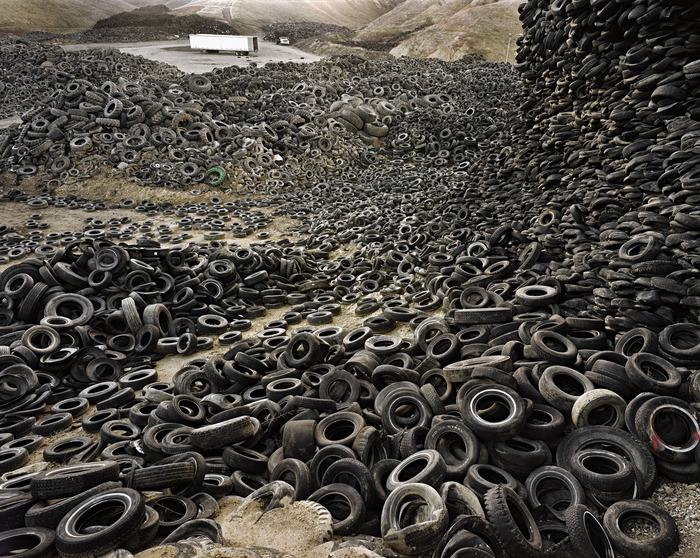 Edward Burtynsky Canadian, born 1955 Oxford Tire Pile #1, Westley, California, 1999 Chromogenic print 52 x 62 in. Wadsworth Atheneum Museum of Art Gift of Janice and Mickey Cartin, 2004.31.80