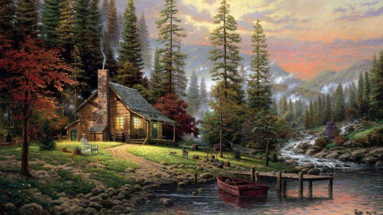thomas kincaid quiet forest house dog landscape - СветВМир.ру | Познавательный журнал! - Что отняли самое важное у людей?